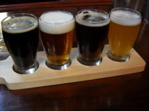 (from left to right) Chocolate Stout, Biplane Pusher Pale Ale, Bristol Bulldoge Brown Ale, and Cranberry Cream Ale