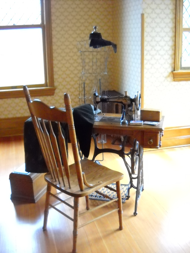 An upstairs workroom where the female servants would alter and repair clothing